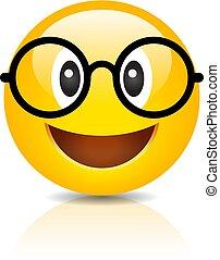 inteligente, óculos, emoji