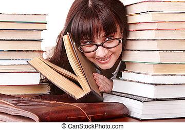 inteligente, book., menina, grupo, espetáculos