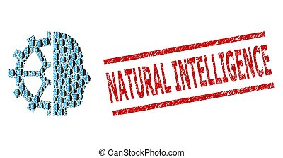 Intellect Recursion Mosaic of Intellect Items and Textured Natural Intelligence Stamp