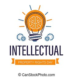 Intellectual property rights day isolated icon, brain and light bulb