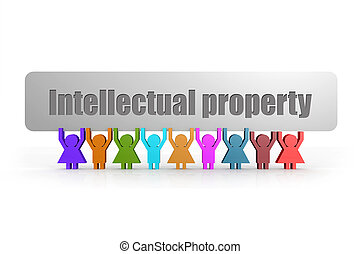 Intellectual property word on a banner hold by group of puppets