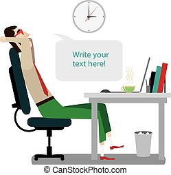 Intellectual rests during working - Vector illustration on...
