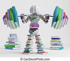 Bookish man lifts a heavy barbell loaded with sports in the form of books