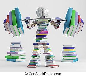 Intellectual sport - Bookish man lifts a heavy barbell...