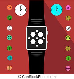 Intellectual watches with icons. Smart Watch. Vector illustration