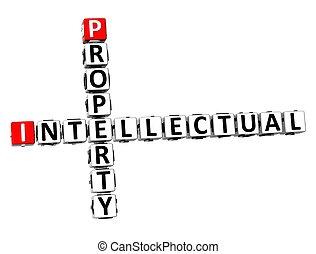 intellectuel, mots croisés, fond, blanc, propriété, 3d
