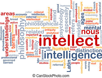intelletto, fondo, wordcloud, concetto, illustrazione