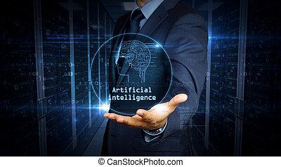 intelligence, écran, artificiel, toucher, homme affaires, hologramme