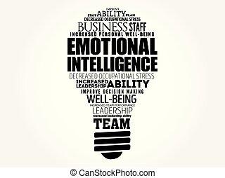 intelligence, émotif, ampoule, lumière