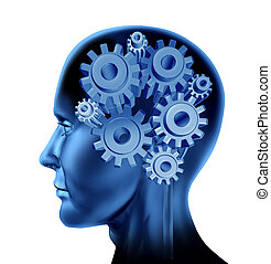 Intelligence and brain function with gears and cogs isolated on white as a concept of intelligence