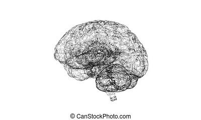 intelligence, artificiel, cerveau, fond, numérique, blanc, polygones