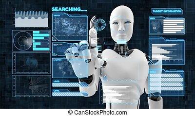 intelligence, artificiel, grand, robot, analytics, futuriste, cgi, données, programmation