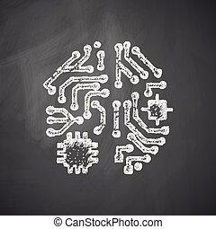 intelligence, artificiel, icône
