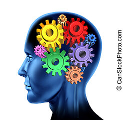 intelligence brain function isolated on a white background with gears and cog symbols.