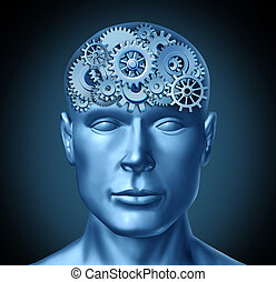 Intelligence brain function represented by a human head with...