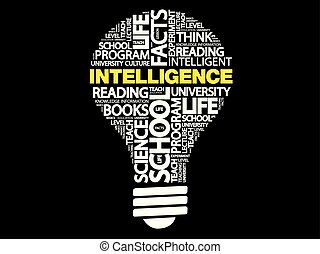Intelligence bulb word cloud, business concept