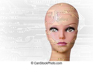 intelligence, concept, artificiel