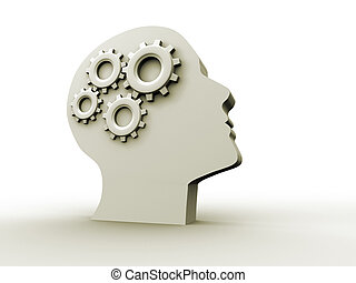 Intelligence concept - Human head profile with gears - 3d...