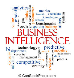 intelligence, concept, mot, business, nuage