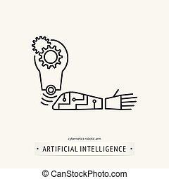 intelligence, icône, artificiel, design.