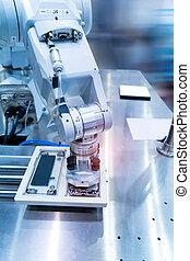 intelligence machine working in phone factory
