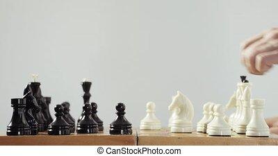 intelligence, main., prosthetics, main artificielle, échecs, humain, robotique, jouer, concept.