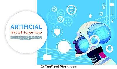 intelligence, moderne, robot, artificiel, cerveau, ...