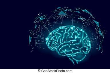 intelligence, poly, cerveau, conception, humain, réalité, technologie, bleu, artificiel, suivant, bas, abilities., menthal, symbole, illustration, sagesse, actif, géométrique, homme, niveau, formes, vecteur, glowing., augmented