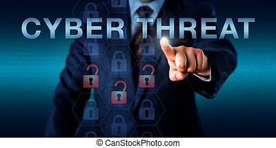 Governmental intelligence provider is pressing CYBER THREAT on a touch screen. Business metaphor and security industry concept. Three virtual padlock icons light up red signifying a security breach.