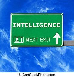 INTELLIGENCE road sign against clear blue sky