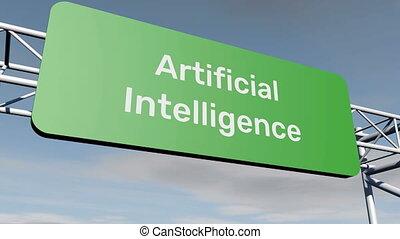 intelligence, signe, artificiel, route