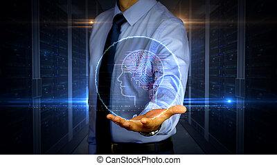 intelligence, symbole, hologramme, artificiel, homme affaires