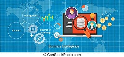 intelligens, affär, analys, databas