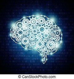 intelligens, begrepp, konstgjort, hjärna