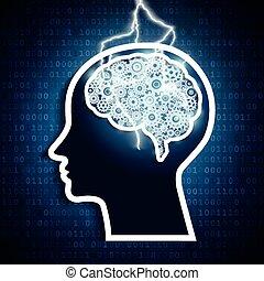intelligens, concept., blixt, hjärna, bult, mänsklig, gears., strejk