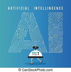 intelligens, concept., robot, artificia