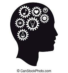 intelligens, hjärna, huvud, utrustar, media