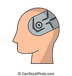 intelligens, huvud, mänsklig, konstgjort, hjärna