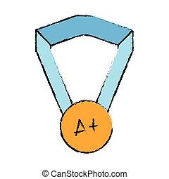 intelligent, école, médaille, symbole, étudiant