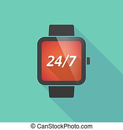 intelligent, 24/7, montre, ombre, long, texte