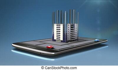 intelligent, application, toucher, bâtiment, vrai, mobile, téléphone, ville, constructed, propriété, tampon
