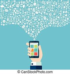 intelligent, apps, téléphone, nuage, technologie