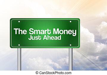 intelligent, argent, business, route, vert, signe, concept