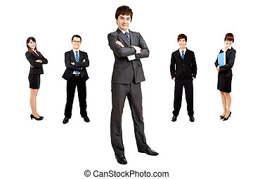 intelligent, asiatique, homme affaires, à, equipe affaires