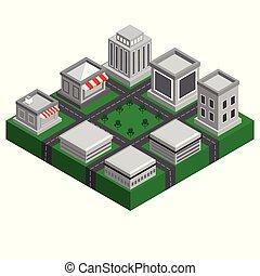 intelligent, bâtiment, moderne, isométrique, paysage, ville, 3d