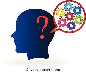 Intelligent brain thinking in solutions logo vector