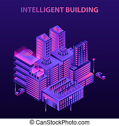 Intelligent building concept background, isometric style