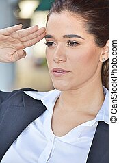 Intelligent Business Woman Saluting