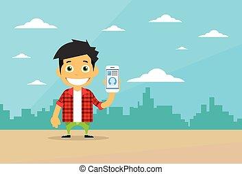 intelligent, cellule, caractère, désinvolte, téléphone, homme, utilisation, dessin animé