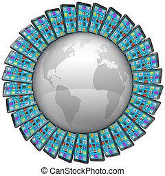 intelligent, cellule téléphone, autour de, mondiale, global, connexions